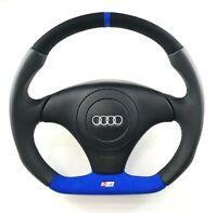 Reshaped Flat Bottom Steering wheel for Audi S4 B5 ! Blue Alcantara Black Lether