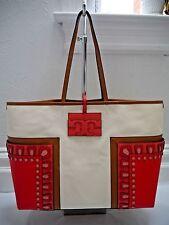 4550c9f65e87 NEW TORY BURCH Block-T ivory canvas red appliqué large tote bag handbag