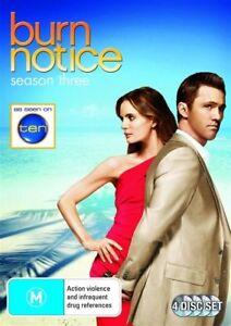 Burn Notice : Season 3 (DVD : 4-Disc) Series Three Third - 12 HOURS !! Region 4