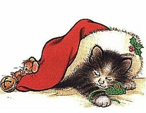 Christmas Cat & Mouse 48 Large Sticky White Paper Stickers Labels New