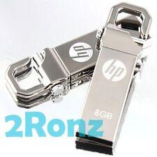 HP v250w 8GB 8G USB Flash Pen Drive Storage Memory Stick Hook Clip Lock Metal