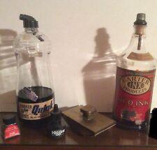 2 Vintage Fountain Pen Ink 1 Qt Bottles Carter Red Ink & Parker Blue Black Perm.