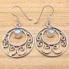 925 Silver Plated Blue Fire Rainbow Moonstone Inexpensive Earrings Tibetan Theme