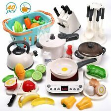 40pcs Cooking Pretend Play Toy Kitchen Cookware Playset Including Pots Pans Food