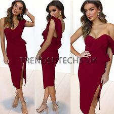 Womens One Shoulder Frill Midi Dress Bardot Bodycon Ruffle Slit Off UK Size 6-14