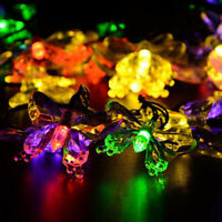 20LED Solar Powered Butterfly Fairy String Light Lamp Outdoor Party Garden Decor