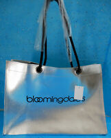 Bloomingdale's Silver Metallic Faux Leather Tote Bag Travel Shopper Shopping Eco