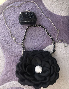 Black Flower Ladies Evening Bag With Coin Purse