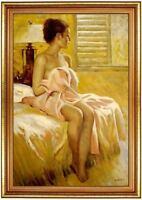 Ölbild erotische Frau, Akte, nackte Frau, Ölgemälde HANDGEMALT,Gemälde 60x90cm