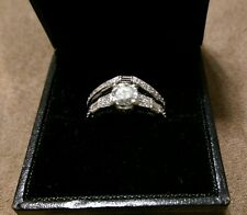 Over 1.25 tcw Vintage Diamond Engagement Wedding Ring Set 14K White Gold