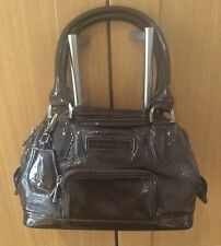 STYLISH LONGCHAMP BROWN LEATHER PATENT / OVER THE ARM BAG / USED GOOD CON