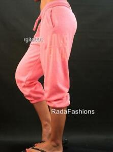 Victoria's Secret PINK Sweat Pants Fleece Campus Crop Lounge Logo Slouchy NWT