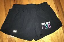 """Women's UNDER ARMOUR Heat Gear LINED Athletic Running shorts - """"RUN NYC"""" SZ S"""