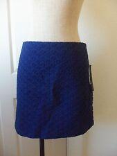 Cynthia Steffe Black Label ERICA Midnight Navy Blue Cotton Eyelet Lined Skirt  8