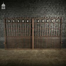 More details for pair of georgian wrought iron spiked top driveway gates with lead rose detail