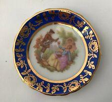 Vintage France La Reine Limoges Miniature Porcelain Plate 4.5 cm