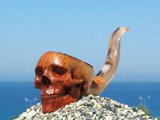 Oguz Simsek Briar Smoking Pipe BIG FACE SKULL skeleton bones meerschaum pfeife
