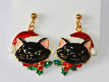 Christmas Cat w Santa Hat Dangle Post Earrings / Gold-tone / White ~ Black ~ Gra