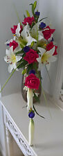 Wedding, Silk, Brides Bouquet,Shower Style Tiger Lilly, Raspberry, Ivory, Purple