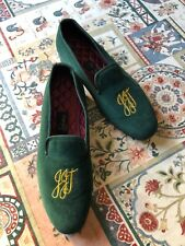 Genuine BROADLANDS Monogrammed Mens' Slippers,dark green velvet ,Size 11 1/2,JJT