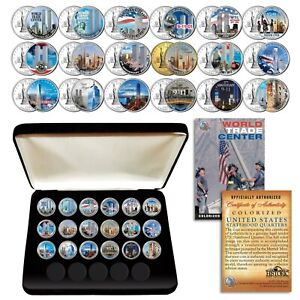 * COMPLETE SET * WTC 9/11 US MINT NEW YORK STATE Quarter 18-Coin Set with BOX