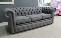 CHESTERFIELD TUFTED BUTTONED 3 SEATER SOFA COUCH PEWTER GREY FABRIC