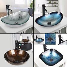 Waschbecken Glas Waschschale Aufsatzwaschbecken Waschtisch Wasserhahn Küche Bad