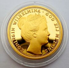 Netherlands 10 Gulden 1898 Silver Coin Proof with 24k Gold Plated Wilhelmi (T69)