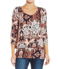 SUZANNEGRAE (Size L) LOVELY PINK PATTERN 3/4 SLEEVE LAYER TOP. NEAR NEW