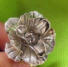 WUNDERSCHÖNER Blumen Ring VINTAGE silber-farbig Blume Blüte gross BOHO Gr 59
