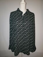 H&M Womens Plus Size 22 Floral Shirt Button Down Blouse EUC Top Black White