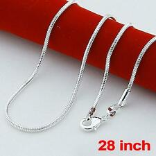 Women Jewelry 925 Sterling Solid Silver Fashion Snake Long Chain Necklace Gift