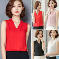 Womens Office Work Wear V Neck T Shirt Sleeveless Chiffon Casual Tops Blouse Tee