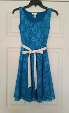 NEW Modcloth Dress S Teal Blue Lace A-Line w Ivory Sash Brighten the Evening