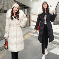 Womens Ladies Padded Quilted Winter Coat Fur Hooded Long Jacket Parka Zip Up