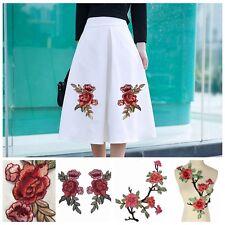 Rose Flower Applique Badge Embroidered Floral Collar Sew Patch Dress Craft lp
