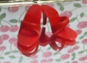 Vintage Reproduction 1 Pair Barbie Red Mules OT High Heel Shoes Fit Color Magic