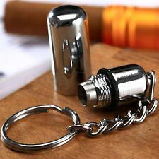 Bullet Style Stainless Steel Pocket Cigar Punch Cutter w Key Chain Ring Silver