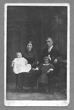 Family Group RP, Manders 156 Nethergate  Dundee c 1920,  baby,  backdrop   AH721