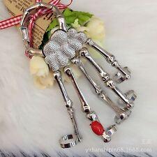 Hand Chain Silver Skull Fingers Metal Skeleton Fashion Slave Bracelet Ring New