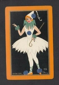 1 PLAYING SWAP CARD 1930 ART DECO LADY SHOW GIRL CLOWN DANCER - STUNNING