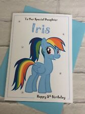 Handmade Personalised My Little Pony Rainbow Dash Birthday Card - Any Name/Age