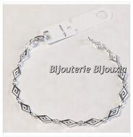 Bracelet Maille Fantaisie En Argent Massif 925/000 Rhodié Bijoux Femme