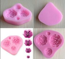 3D Roses Silicone Mould Sugarcraft Cake Decorating Topper  Fondant Fimo Mould-CB
