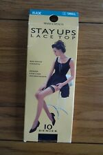 Marks and Spencer 10 Denier Stay Ups Lace Top S Black