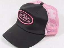 NEW GENUINE Von Dutch Mesh Trucker Biker Snapback Hat Cap Adjustable PINK BLACK