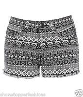 NEW Womens SHORTS DENIM AZTEC Ladies HOT PANTS Size 8 10 12 14 16 short Black