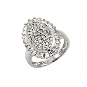 Sterling Silver Rhodium Plated Micro Pave Ring W/ diamonds//NEW DESIGN!! SZ 5-9