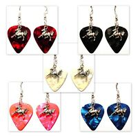 Horse Running Charm Guitar Pick Earrings - Choose Color - Handmade in USA