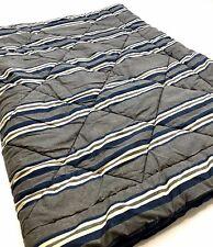 Pottery Barn Dorm Twin XL Bed Gray/Blue/Cream Striped Reversible Comforter~68x91